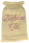 Birthday Girl Rhinestone Knit Pet Sweater LG Cream